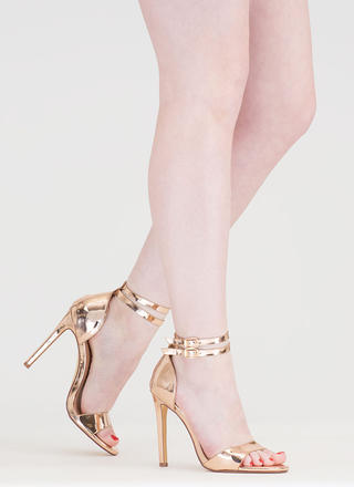 Double The Fun Strappy Metallic Heels