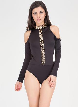 Link Up Chained Cold-Shoulder Swimsuit