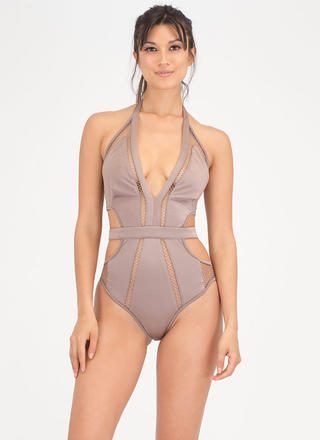 Caught You Looking Cut-Out Net Swimsuit