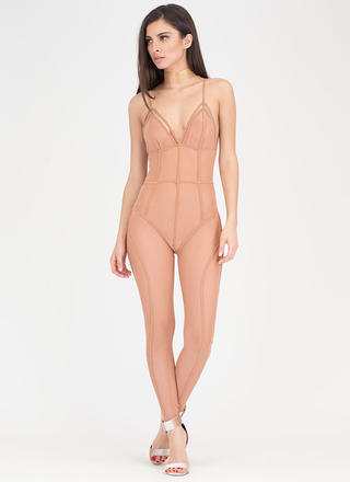 Sheer Leader Strappy Caged Jumpsuit