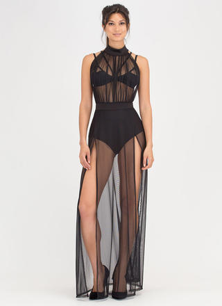 Sheer Pleasure Double Slit Maxi Dress