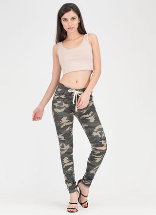 Active Duty Slit Camo Drawstring Pants