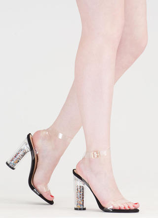 Treasure Chest Clear And Chunky Heels
