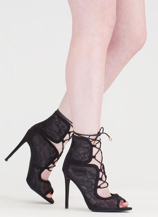 Step Into Romance Tied Lace Heels