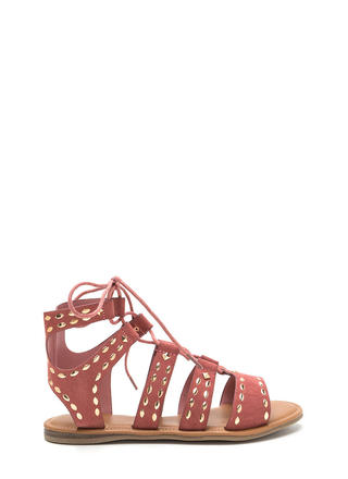 Fashion Victory Studded Lace-Up Sandals
