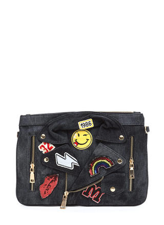 Patch Up Denim Moto Clutch