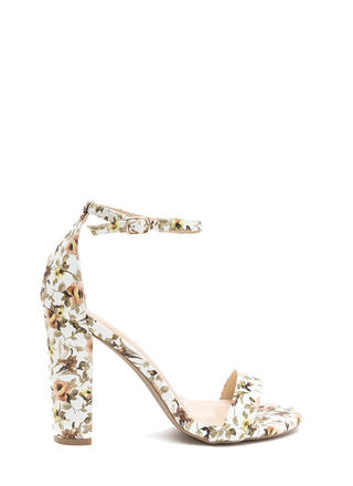 Spring It On Chunky Floral Print Heels
