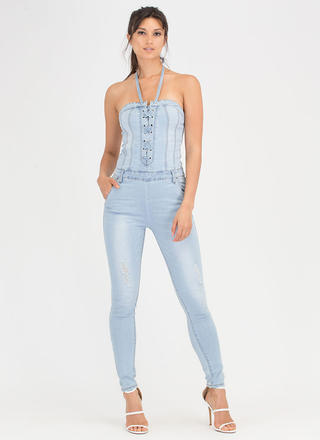 Jean In Lace-Up Denim Jumpsuit