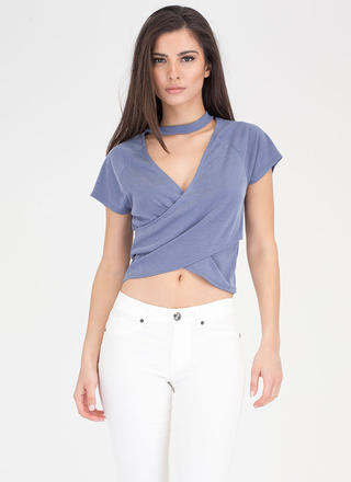 Crossing Over Ribbed Cut-Out Choker Top