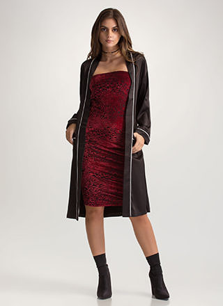 Robe In Wardrobe Satiny Piped Duster