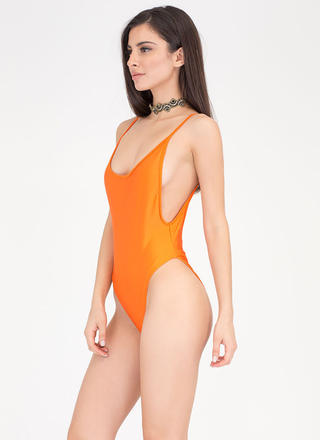 Wide Open Back High-Cut Bathing Suit