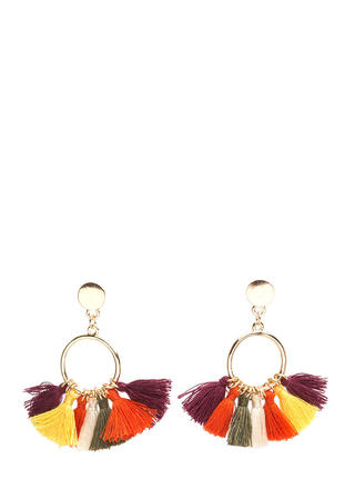 Boho Show Tasseled Hoop Earrings
