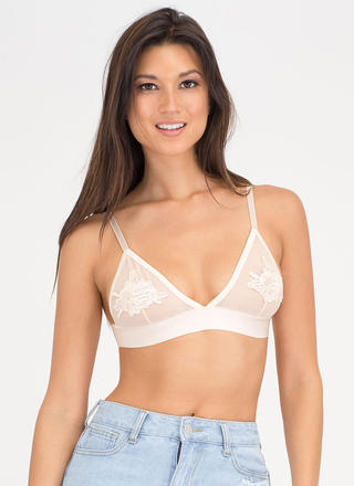 Perfect Petals Sheer Mesh Bralette