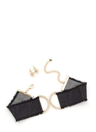 Jean Vogue Sparkly Denim Choker Set