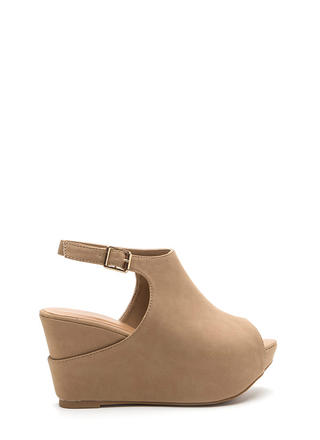 Chic Suggestion Cut-Out Platform Wedges