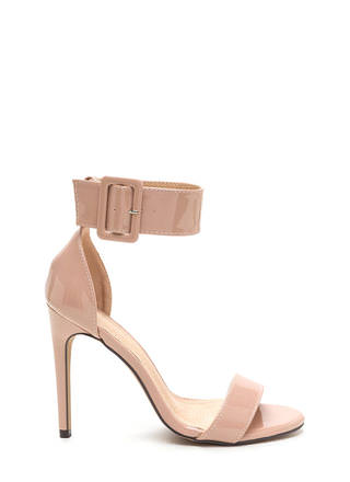 Buckle Up Strappy Faux Patent Heels
