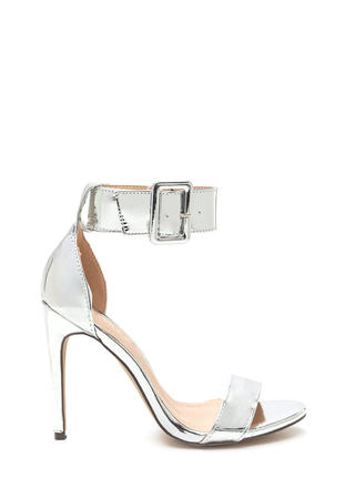 Buckle Up Strappy Metallic Heels