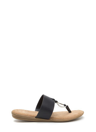I'll Ring You Faux Leather Thong Sandals