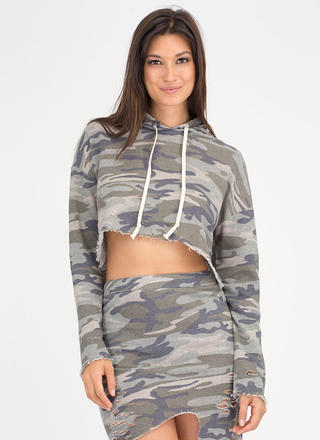 Hole Army Distressed Camo Hoodie