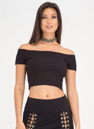 Go Ribbed Off-Shoulder Crop Top