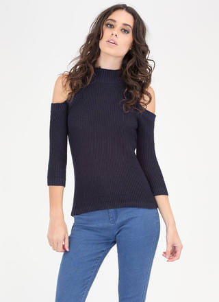 Out In The Cold-Shoulder Knit Sweater