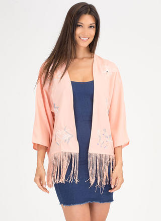 Fly Fly Away Embroidered Fringe Kimono