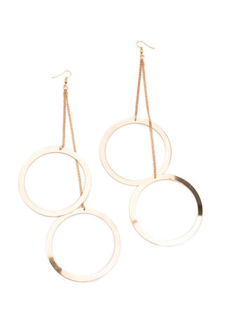Double Hoop Dreams Chain Earrings