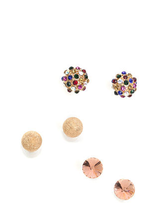 Bling Ring Faux Jeweled Earring Set
