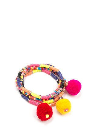 Pom-Poms Away Bead Bracelet Set