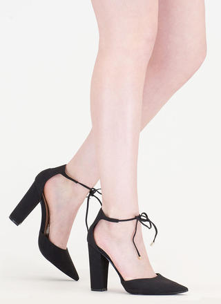 It's High Tied Chunky Pointy Heels