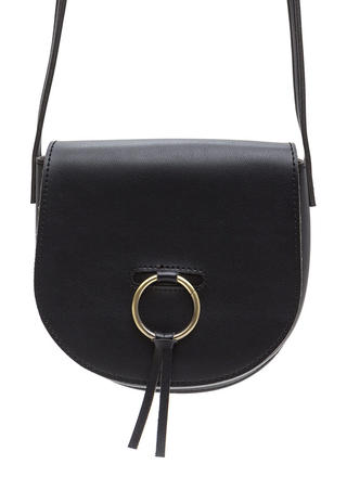 Ring Leader Faux Leather Saddle Bag