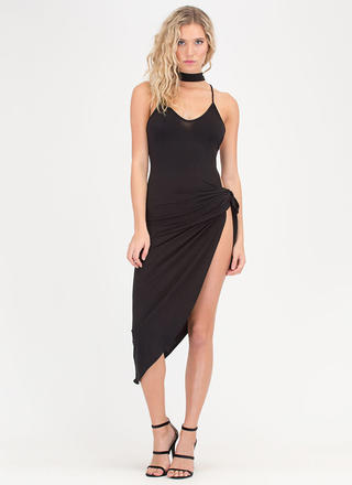 Leg Day Cut-Out Tied Choker Midi Dress