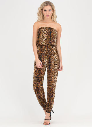 In The Wild Strapless Leopard Jumpsuit