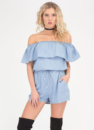 Ruffled Up Off-Shoulder Chambray Romper