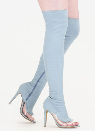 Partly Clear Over-The-Knee Denim Boots