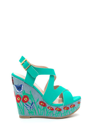 Spring Fling Strappy Embroidered Wedges