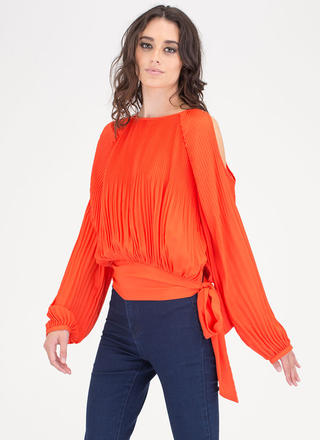 Everyday Chic Pleated Cold Shoulder Top