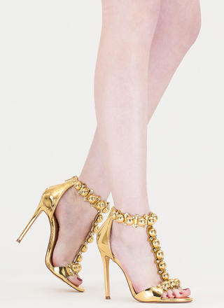 Welcome Dome Studded Metallic Heels