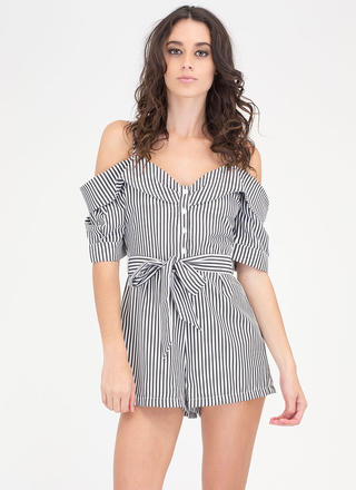 Striped Sensation Cold Shoulder Romper
