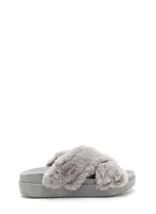 Thick And Thick Faux Fur Slide Sandals