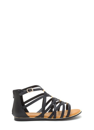 Set The Bar Caged Gladiator Sandals