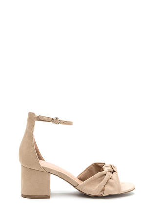 Knot So Bad Faux Suede Block Heels