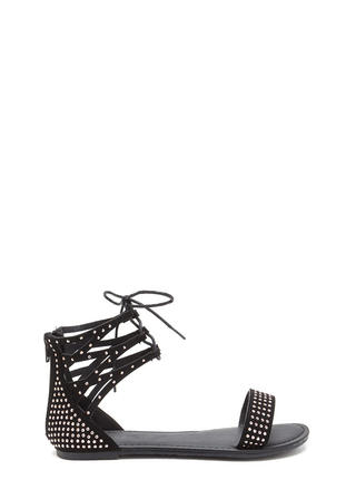 Bling It Up Studded Lace-Up Sandals