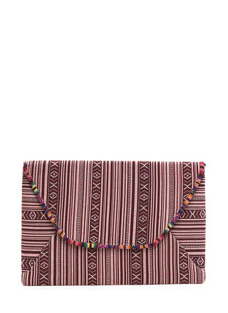 Faraway Place Woven Envelope Clutch