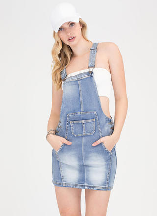 After School Special Jean Skirt Overalls