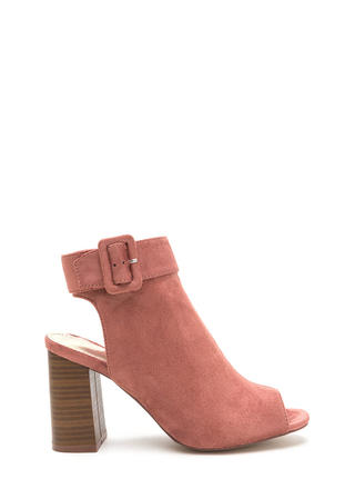 My Business Faux Suede Chunky Heels