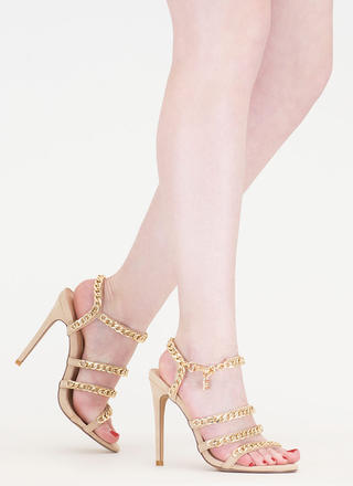 Locked In Strappy Chain Heels