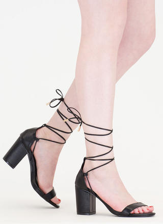 Next Block Lace-Up Faux Leather Heels