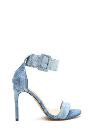 Jean-ius Distressed Buckled Heels