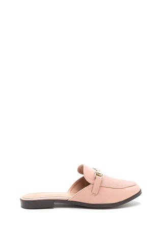 Equestrian Chic Faux Leather Mule Flats